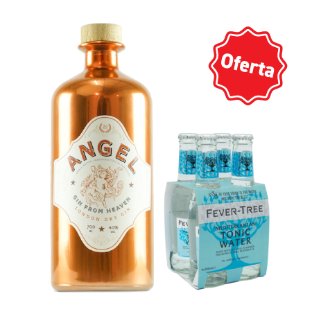 GIN ANGEL GIN from Heaven 70cl (40%) + 1 Pack de 4 garrafas de Fever-Tree Mediterranean