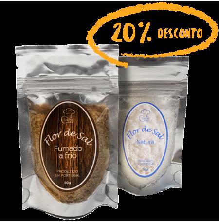 Flor de Sal Fumado a Frio (50g) + Flor de Sal Natura (50g)